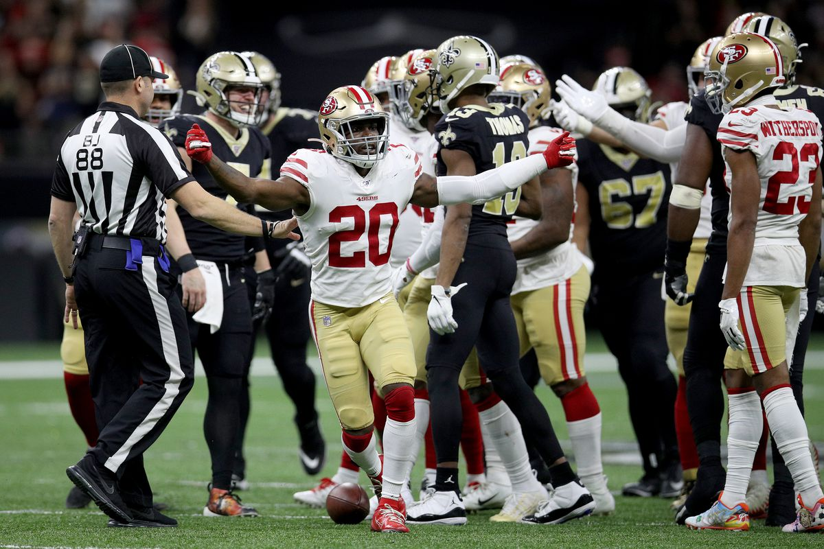 Jimmie Ward of the San Francisco 49ers celebrates defensive stop against the New Orleans Saints in the game at Mercedes Benz Superdome on December 08, 2019 in New Orleans, Louisiana.