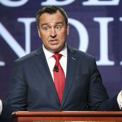 Former Utah House Speaker Greg Hughes speaks during a virtual forum featuring the Republican primary gubernatorial candidates at the Grand America Hotel in Salt Lake City on Thursday, May 7, 2020.