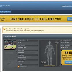 In this undated image provided by Fieldlevel software, an imaginary Fieldlevel player stat page is displayed. College baseball coaches have always beaten the bushes looking for players. But nowadays, with the help of an online coach-to-coach recruiting network called Fieldlevel, coaches in need of players can turn to cyberspace and put out the word. Chances are that within hours they'll hear back from high school and junior-college coaches eager to play matchmaker.