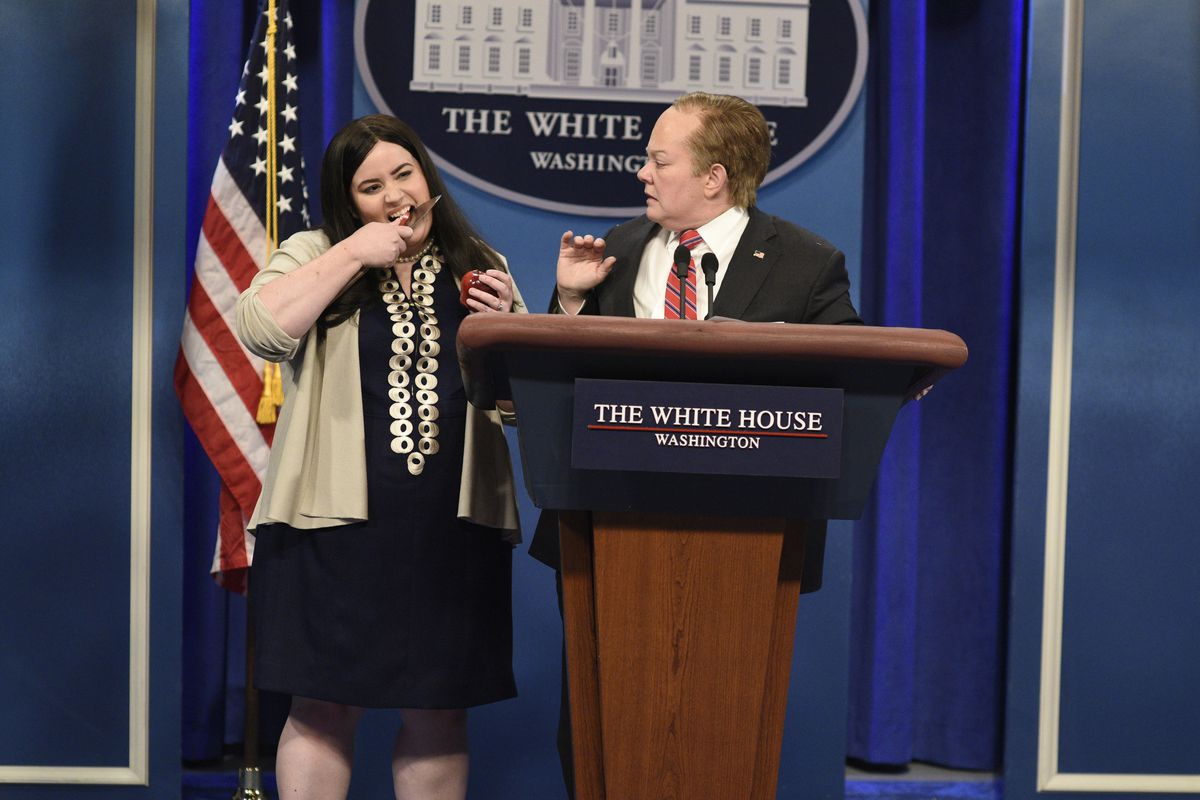 """Aidy Bryant (left) plays Sarah Huckabee Sanders alongside Melissa McCarthy as White House Press Secretary Sean Spicer during the May 13, 2017, episode of """"Saturday Night Live."""" 