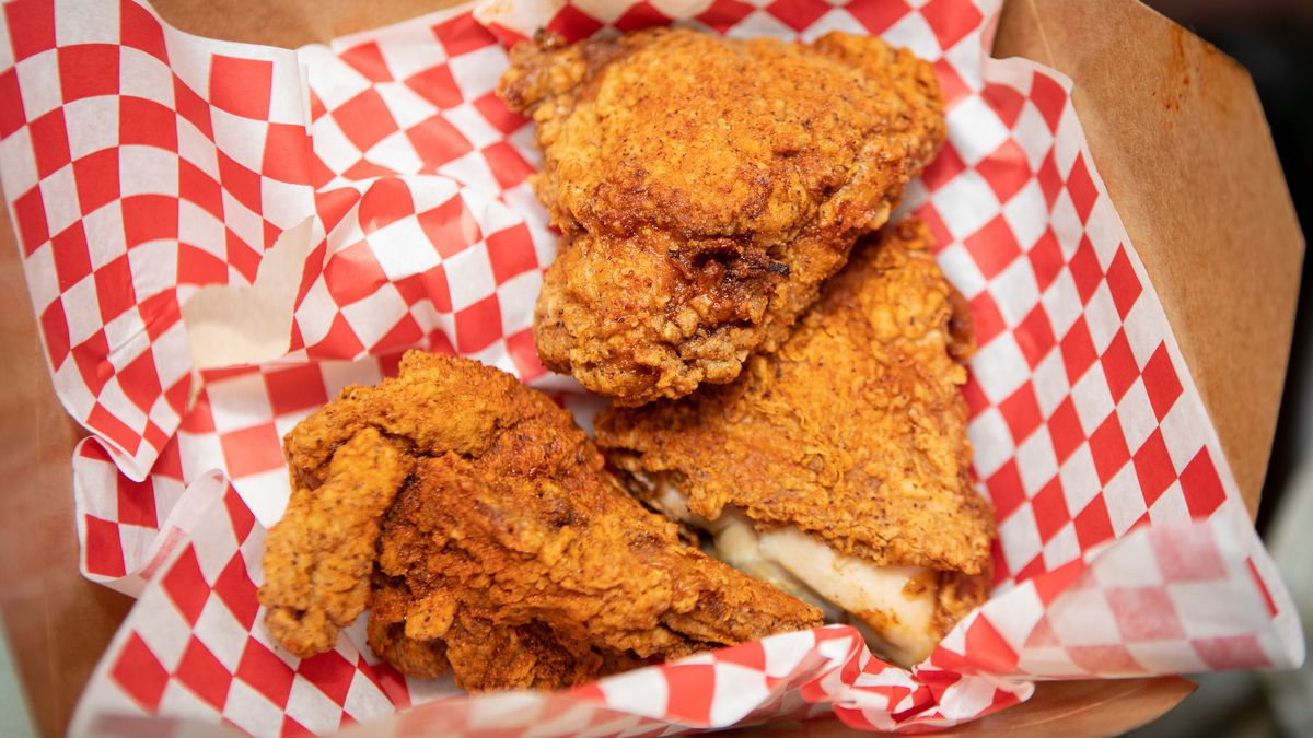 Peaches Hot House fried chicken in a to-go box