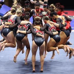 Utah prepares for the floor exercise as they and Washington compete in an NCAA gymnastics meet at the Huntsman Center in Salt Lake City on Saturday, Jan. 30, 2021. No. 4 Utah won 197.475 to 193.300.