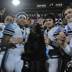 Nazareth with the Class 7A state championship trophy. Nazareth fans hug players after winning the Class 7A state championship. Worsom Robinson/For the Sun-Times.