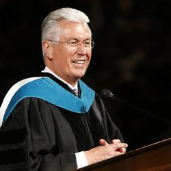 President Dieter F. Uchtdorf, second counselor in the First Presidency of The Church of Jesus Christ of Latter-day Saints, speaks during BYU Spring 2014 Commencement exercises in Provo Thursday, April 24, 2014.