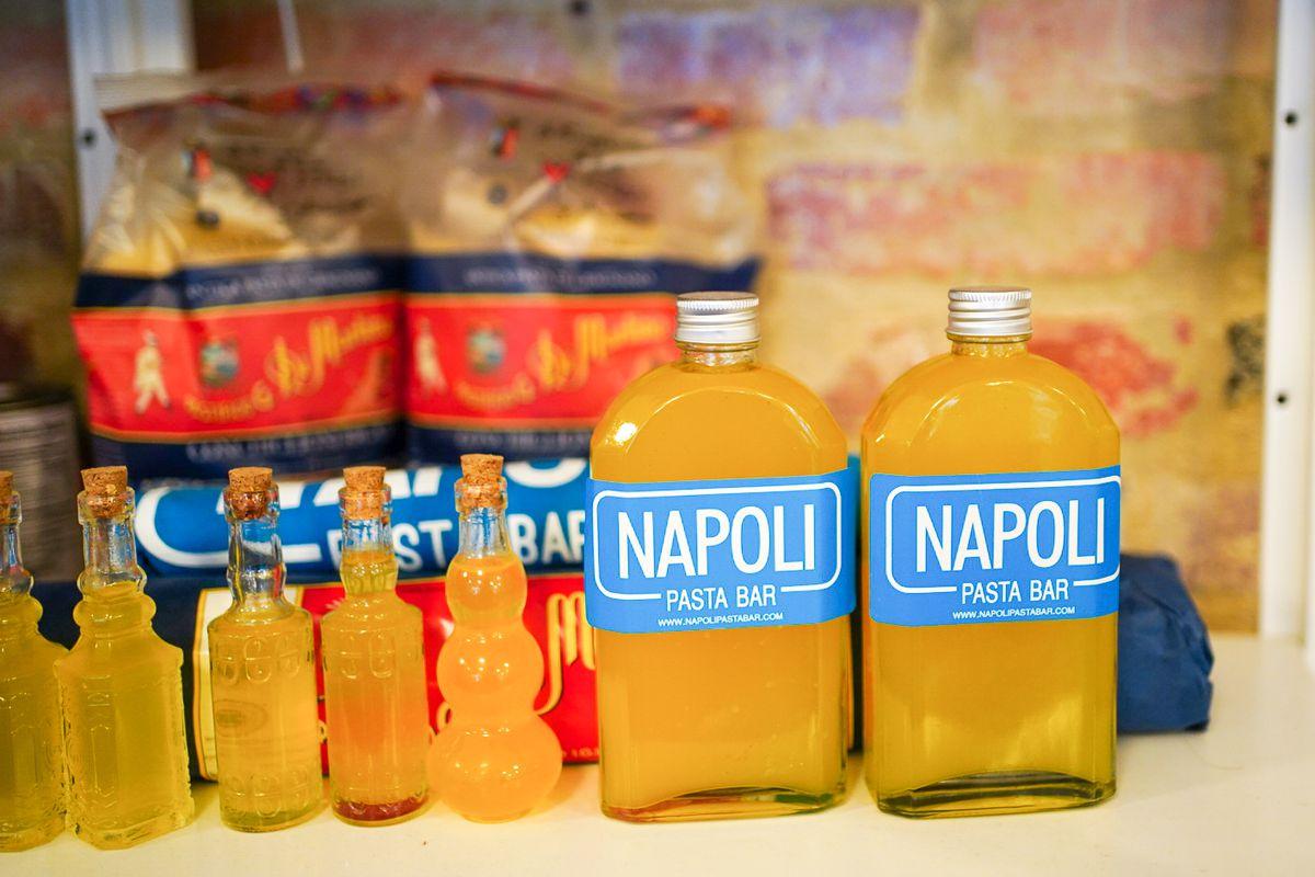 Dried pastas and house limoncello at Napoli.