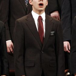 Elder David Archuleta sings with a missionary choir during the 182nd Annual General Conference for The Church of Jesus Christ of Latter-day Saints at the LDS Conference Center in Salt Lake City on Saturday, March 31, 2012.