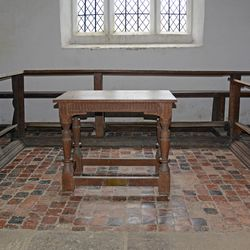 The communion table of the Langley Puritan Chapel near Acton Burnell, Shropshire, England.