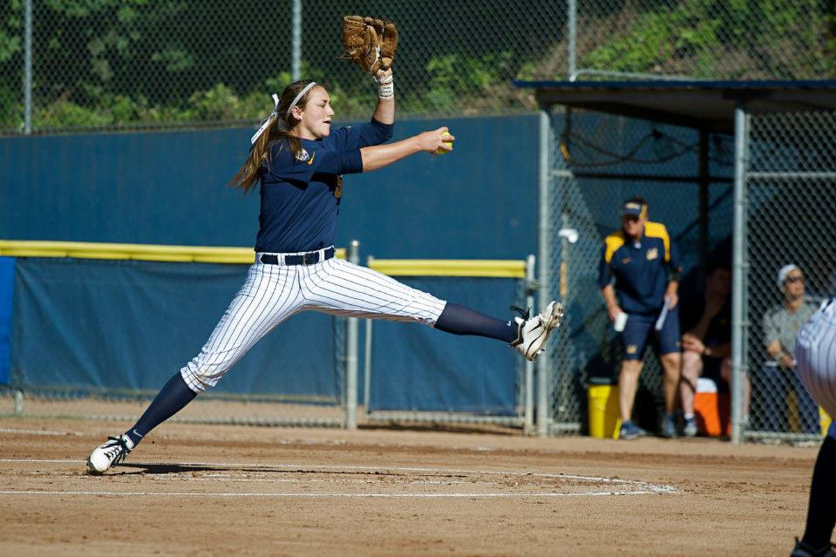 """UW will have to figure out how to score on Jolene Henderson this weekend. (<a href=""""http://www.facebook.com/CalSoftball"""" target=""""new"""">Photo via Cal Softball Facebook - Like them!</a>)"""