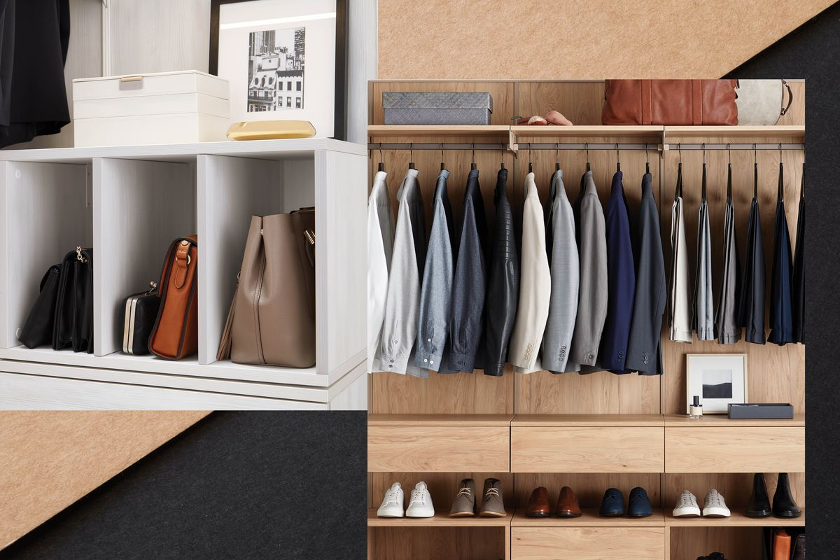 A collage of multiple photos of closets. There are hangers and shelves full of neatly arranged clothing and other objects.