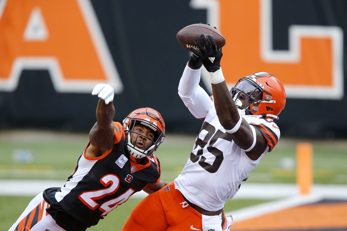 Cleveland Browns tight end David Njoku (85) makes the touchdown catch as Cincinnati Bengals strong safety Vonn Bell (24)defends late in the fourth quarter at Paul Brown Stadium.