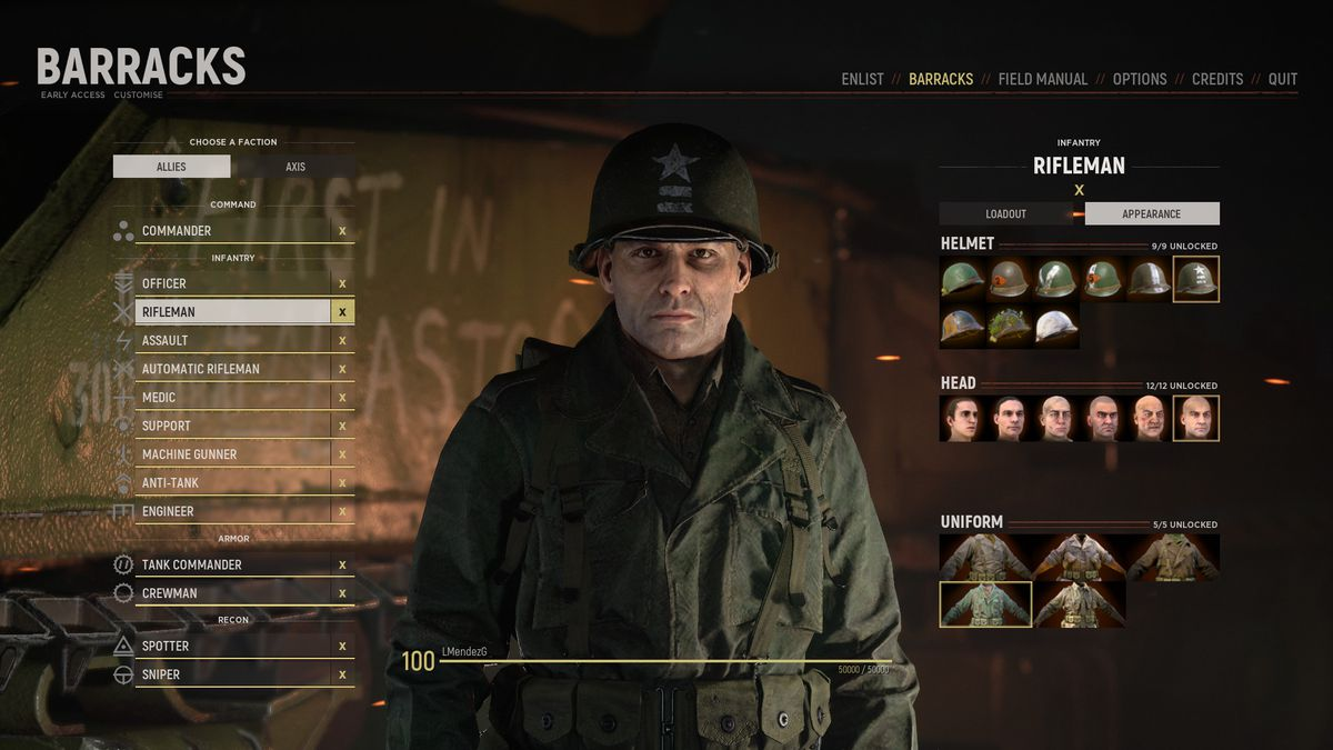Hell Let Loose - the customization and inventory screen, showing the options available to outfit a WW2 soldier