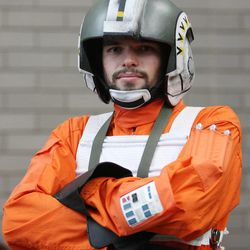 Jase Crawcroft wears a Stars Wars costume at Comic Con in Salt Lake City Thursday, Sept. 5, 2013.