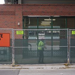 Gates closed at the field access gate, in the right field corner, on Sheffield Avenue