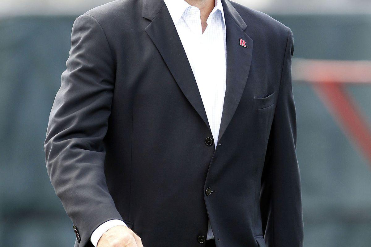 August 6, 2012; Piscataway, NJ, USA; Rutgers Athletic Director Tim Pernetti during Rutgers team practice.   Mandatory Credit: William Perlman/THE STAR-LEDGER via US PRESSWIRE