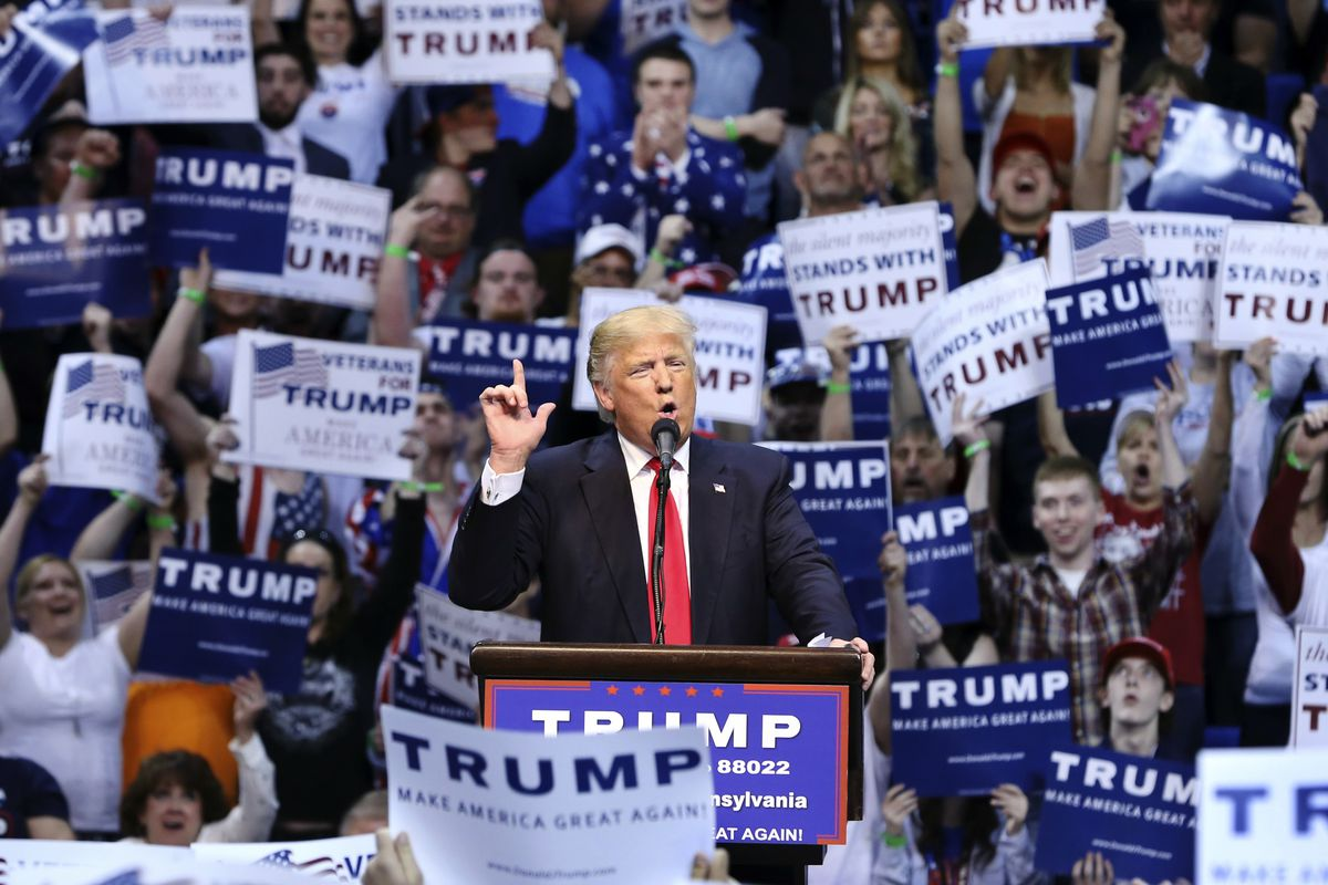 Republican presidential candidate Donald Trump speaks at a campaign rally Monday, April 25, 2016, in Wilkes-Barre, Pa.