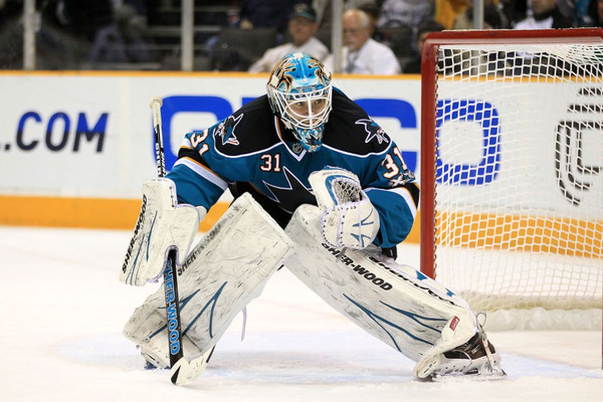 Antti Niemi of the San Jose Sharks plays in goal against his former team the Chicago Blackhawks at HP Pavilion on November 24 2010 in San Jose California.  (Photo by Ezra Shaw/Getty Images)