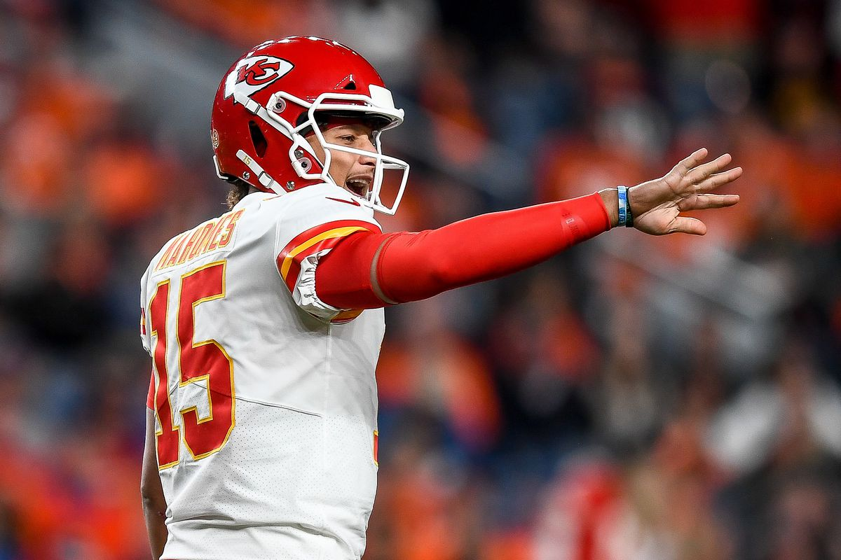 Patrick Mahomes of the Kansas City Chiefs runs the offense against the Denver Broncos at Empower Field at Mile High on October 17, 2019 in Denver, Colorado.