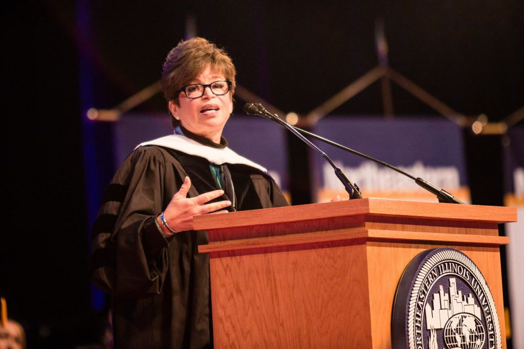 Valerie Jarrett delivers the commencement address for Northeastern Illinois University at the UIC Pavilion on May 8.   James Foster / Sun-Times