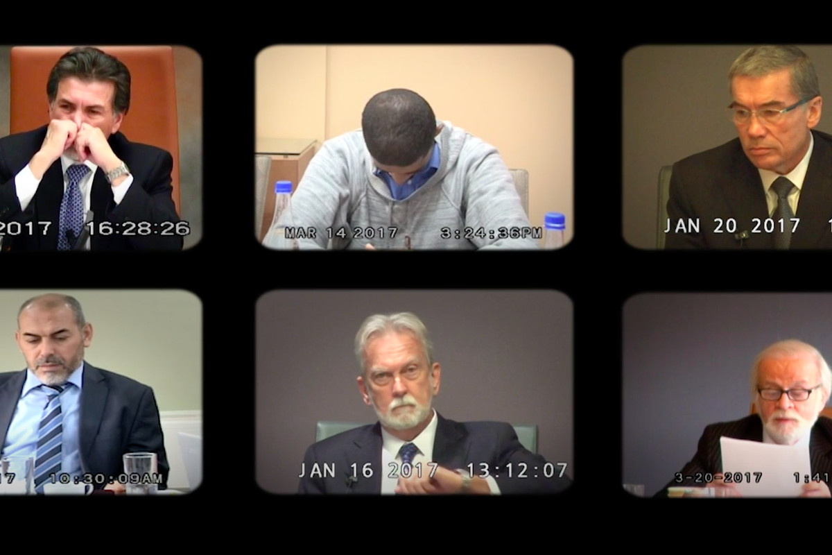Images of six men during their testimonies fill the screen