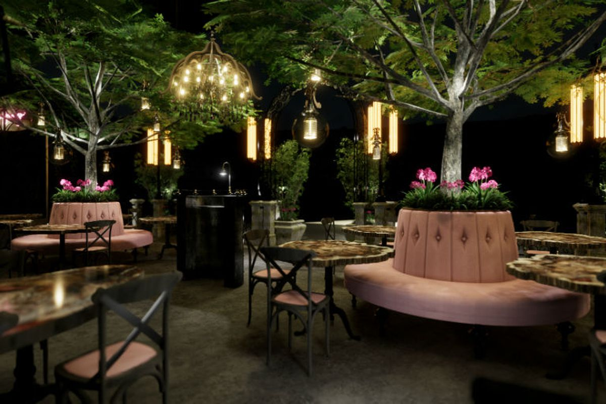 A gardenlike cocktail bar with pink suede seating