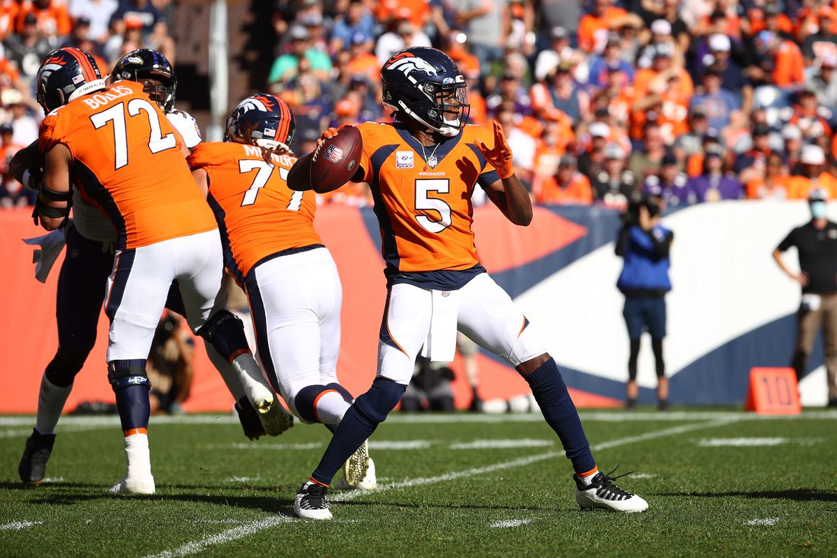 Teddy Bridgewater #5 of the Denver Broncos throws against the Baltimore Ravens at Empower Field At Mile High on October 3, 2021 in Denver, Colorado.