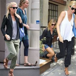 """Gwyneth Paltrow repeats her accessories while out on different shopping trips. Stars! They're just like us. Left via <a href=""""http://www.denimology.com/2010/08/gwyneth_paltrow_in_currentelliott_captain_trousers.php"""" rel=""""nofollow"""">Denimology</a>; right vi"""