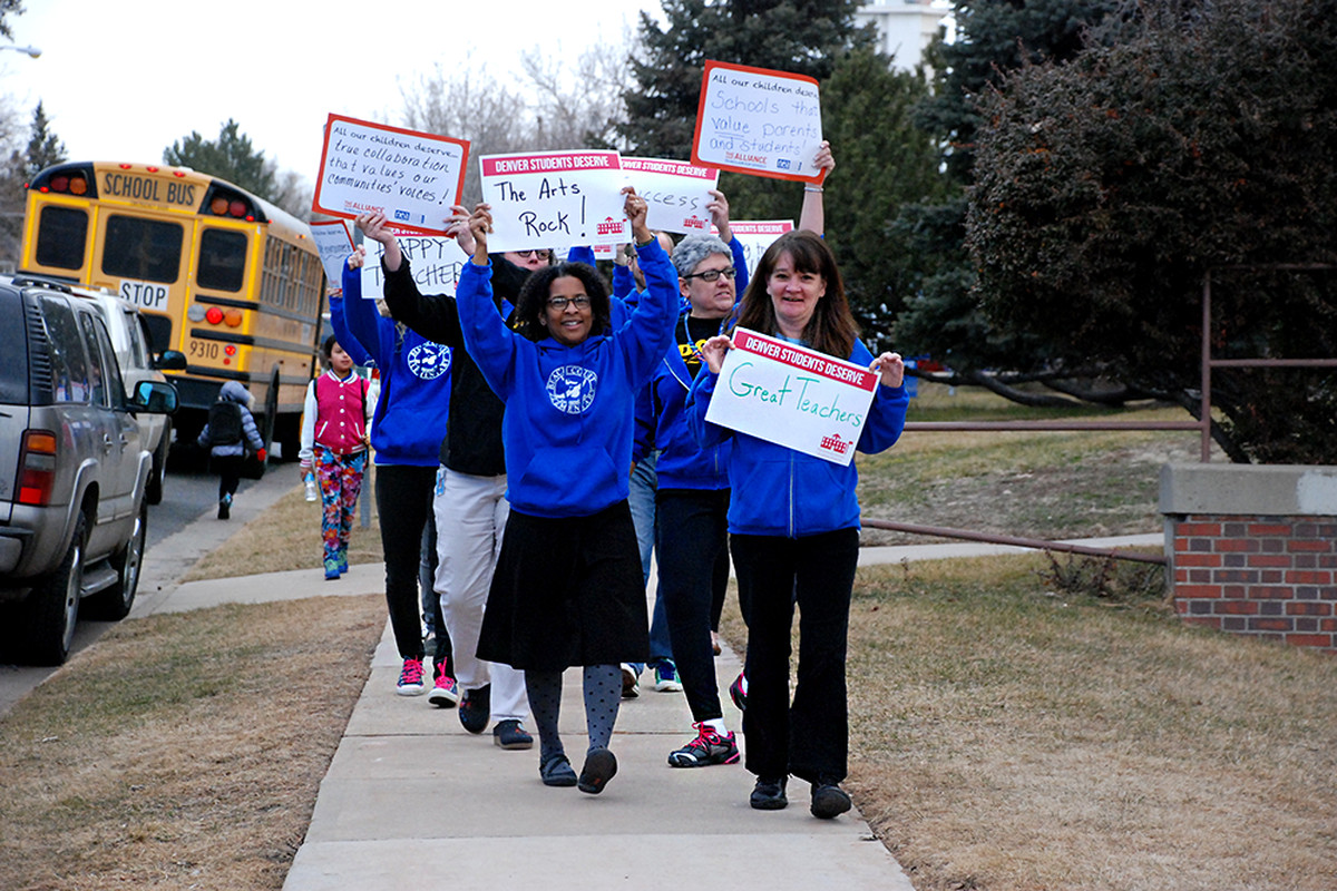 Teachers at Beach Court Elementary School in northwest Denver marched outside their school Wednesday morning. They were met by a group of parents. The rally was part of a nationwide effort to bring attention to public schools.