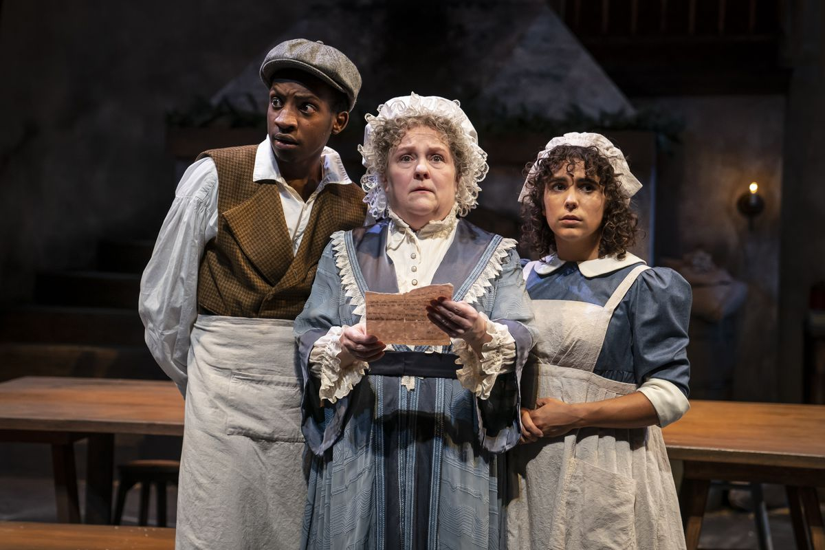 """Jayson Lee, Penny Slusher andAurora Real de Asua in a scene from Northlight Theatre's world premiere production of """"The Wickhams: Christmas at Pemberley."""" 