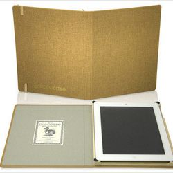 "<a href=""http://www.dodocase.com/products/dodo-essentials""> Dodocase iPad case</a>, $69.99 dodocase.com"
