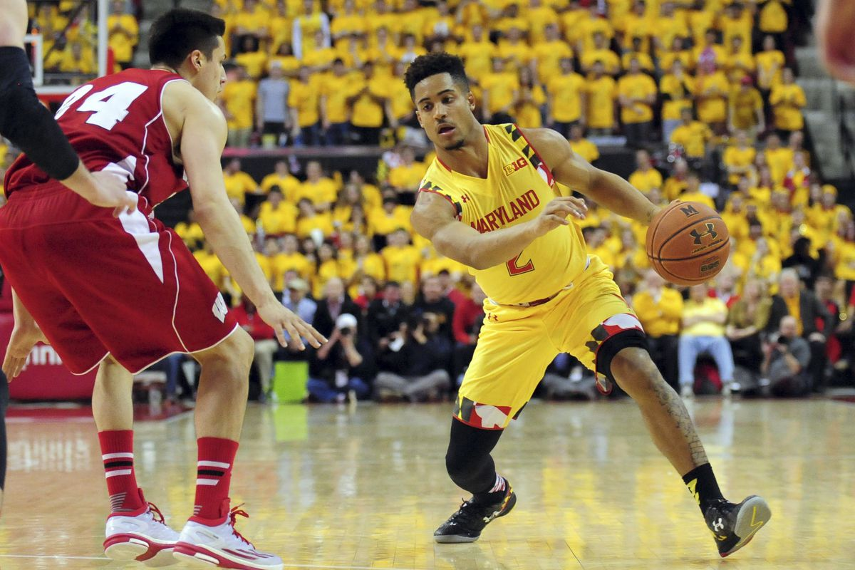 Melo Trimble drives past Wisconsin's Bronson Koenig in Maryland's victory over the Badgers last season.