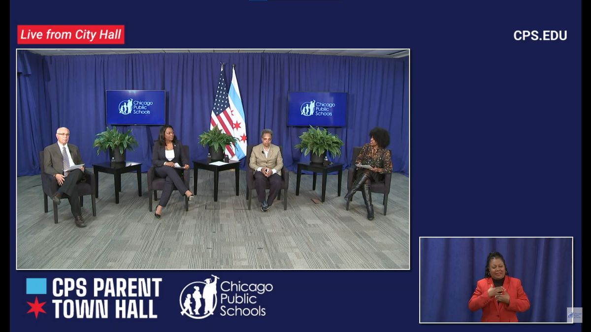 School board President Miguel del Valle (left), CPS CEO Janice Jackson (center left), Mayor Lori Lightfoot (center right) and deputy mayor for education Sybil Madison (right) answer parent questions at a virtual town hall Thursday.