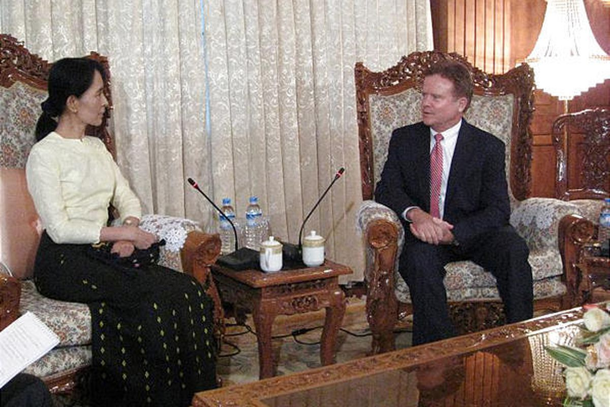 An image released by the office of U.S. Sen. Jim Webb shows him meeting with  Myanmar's detained democracy leader Aung San Suu Kyi in Yangon on Saturday.