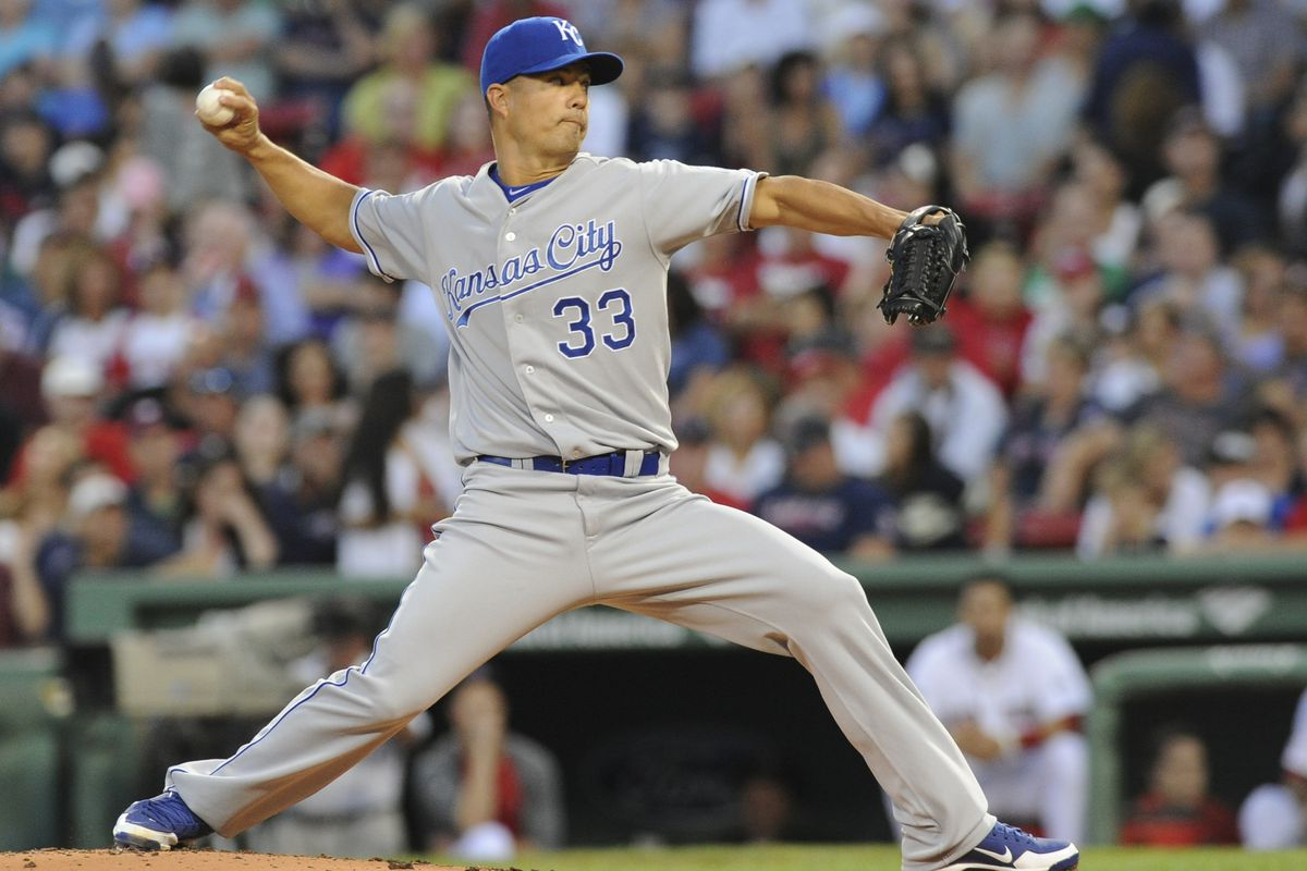 August 25, 2012; Boston, MA, USA; Kansas City Royals starting pitcher Jeremy Guthrie (33) pitches during the first inning against the Boston Red Sox at Fenway Park. Mandatory Credit: Bob DeChiara-US PRESSWIRE
