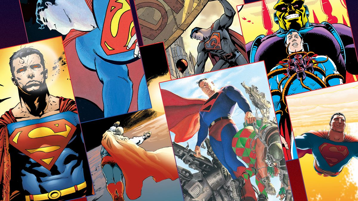 Graphic grid featuring the covers of seven different comic book covers featuring Superman