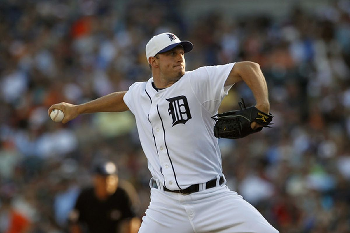 DETROIT - JULY 02: Max Scherzer #37 of the Detroit Tigers pitches in the first inning during the game against the Seattle Mariners on July 2 2010 at Comerica Park in Detroit Michigan.  (Photo by Leon Halip/Getty Images)