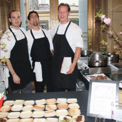 Bourbon Streak exec chef Omri Aflalo (left) and company served an upscale version of broccoli and beef in the red hot VIP section.