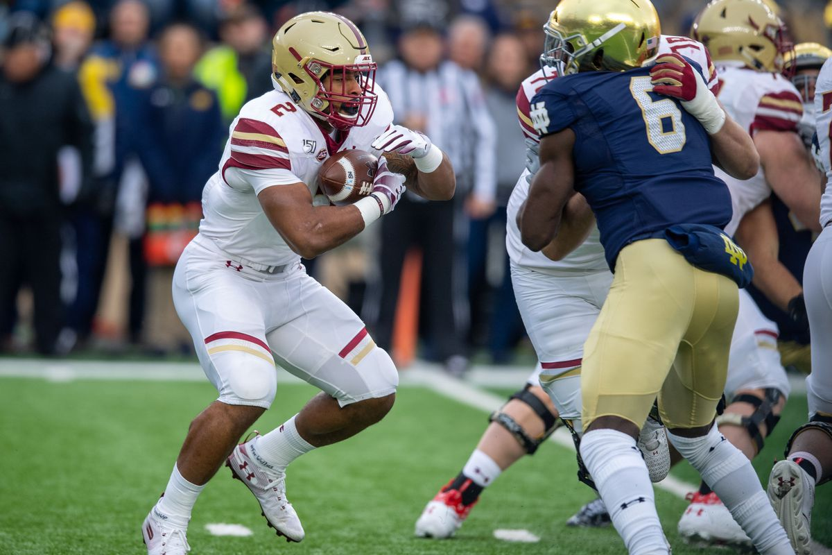 Boston College Eagles running back A.J. Dillon runs the ball in the first quarter against the Notre Dame Fighting Irish at Notre Dame Stadium.