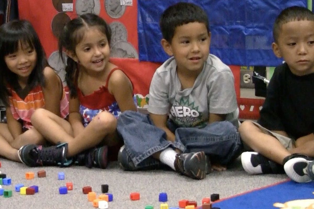 File photo of kindergarten students at Laredo Elementary in Aurora.