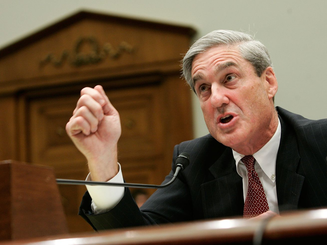 Special counsel Robert Mueller testifies during a hearing before the House Judiciary Committee July 26, 2007, when he was FBI director.