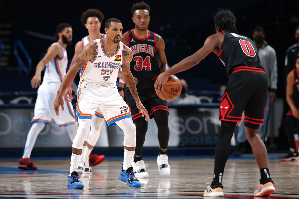 George Hill of the Oklahoma City Thunder plays defense during the game against the Chicago Bulls on January 15, 2021 at Chesapeake Energy Arena in Oklahoma City, Oklahoma.