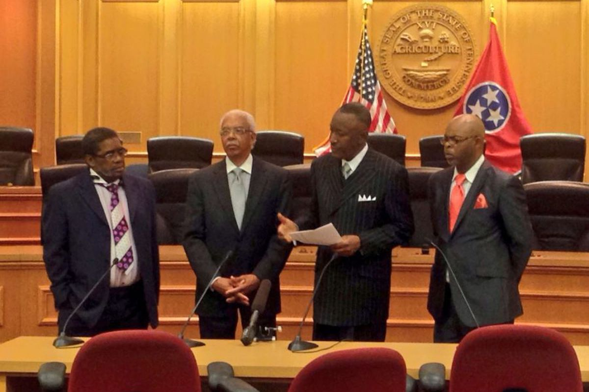 Dwight Montgomery (second from right) rallied pastors to present a petition in support of vouchers to the Tennessee legislature in 2015.