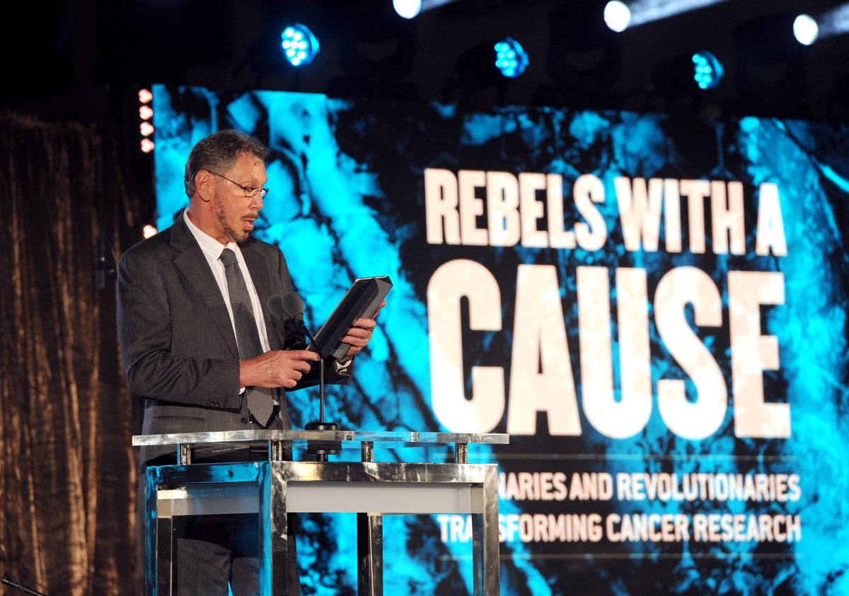 Oracle founder Larry Ellison onstage at the Lawrence J. Ellison Institute for Transformative Medicine of USC: Rebels With A Cause event.