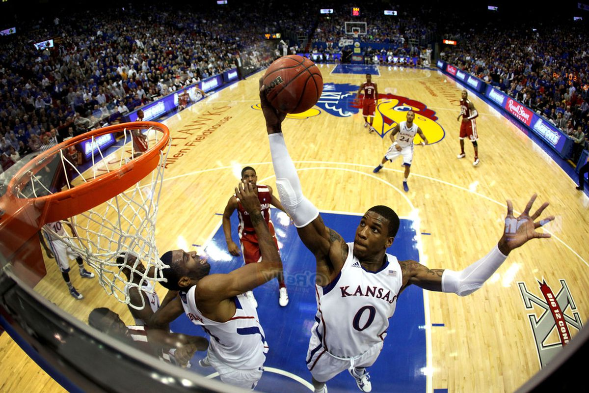 LAWRENCE, KS - FEBRUARY 01:  Thomas Robinson #0 of the Kansas Jayhawks grabs a rebound during the game against the Oklahoma Sooners on February 1, 2012 at Allen Fieldhouse in Lawrence, Kansas.  (Photo by Jamie Squire/Getty Images)
