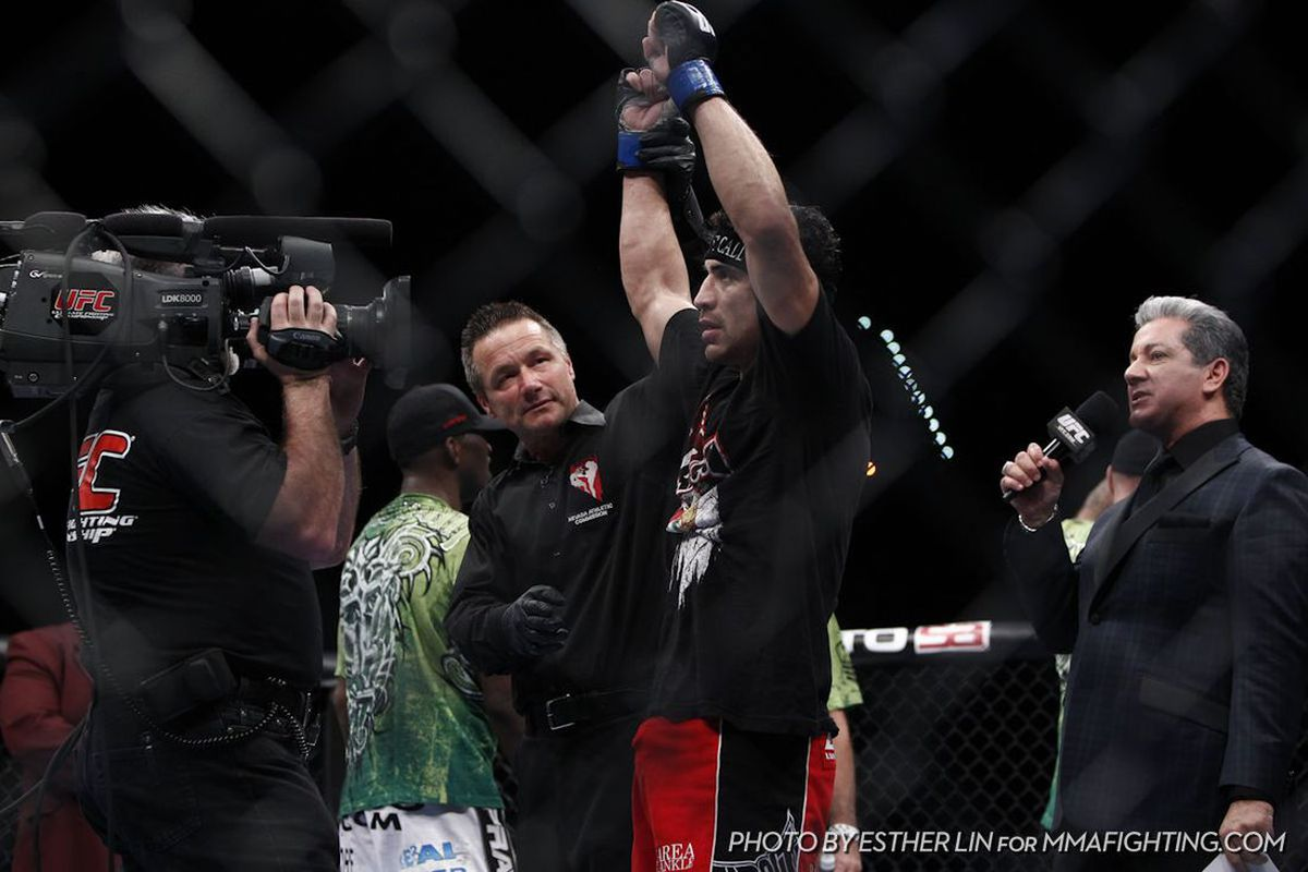 """Danny Castillo Beats Anthony Njokuani At UFC 141, Photo by Esther Lin for <a href=""""http://www.mmafighting.com/photos/"""" target=""""new"""">MMA Fighting</a>."""