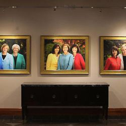 Portraits of women leaders of The Church of Jesus Christ of Latter-day Saints hang in the Conference Center on Wednesday, March 19, 2014, in Salt Lake City.