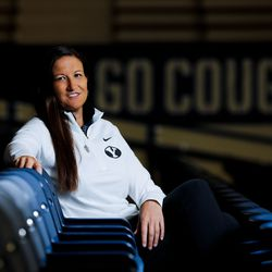 BYU associate athletic director Liz Darger poses for a portrait at the Student Athlete Building in Provo on Monday, Sept. 27, 2021.