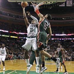 Boston Celtics small forward Paul Pierce (34) drives to the basket against Milwaukee Bucks forward Tobias Harris (15) during the first quarter of an NBA basketball game in Boston, Thursday, April 26, 2012.