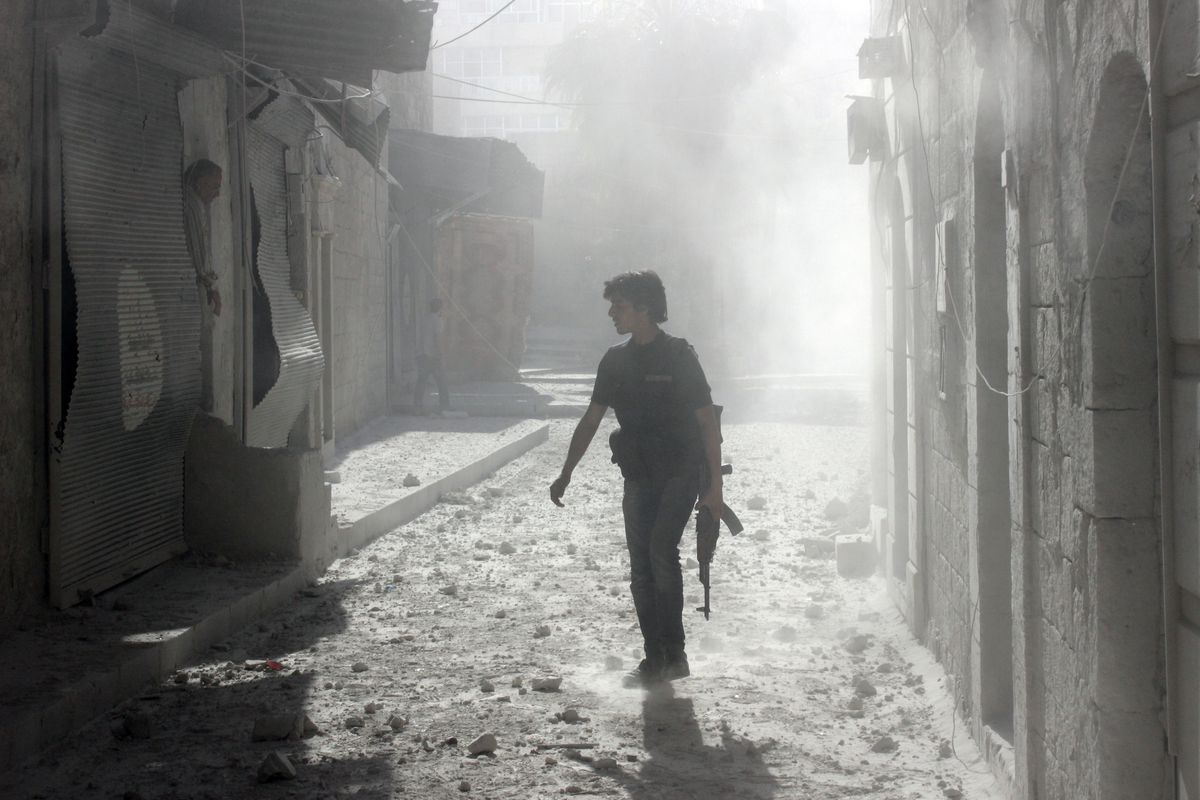 A Syrian rebel fighter in Aleppo.