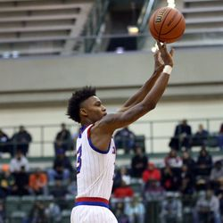 Curie's Dajuan Gordon (3) puts up a shot against Orr in their CPS semi final game at Chicago State University, Friday, February 15, 2019. | Kevin Tanaka/For the Sun Times