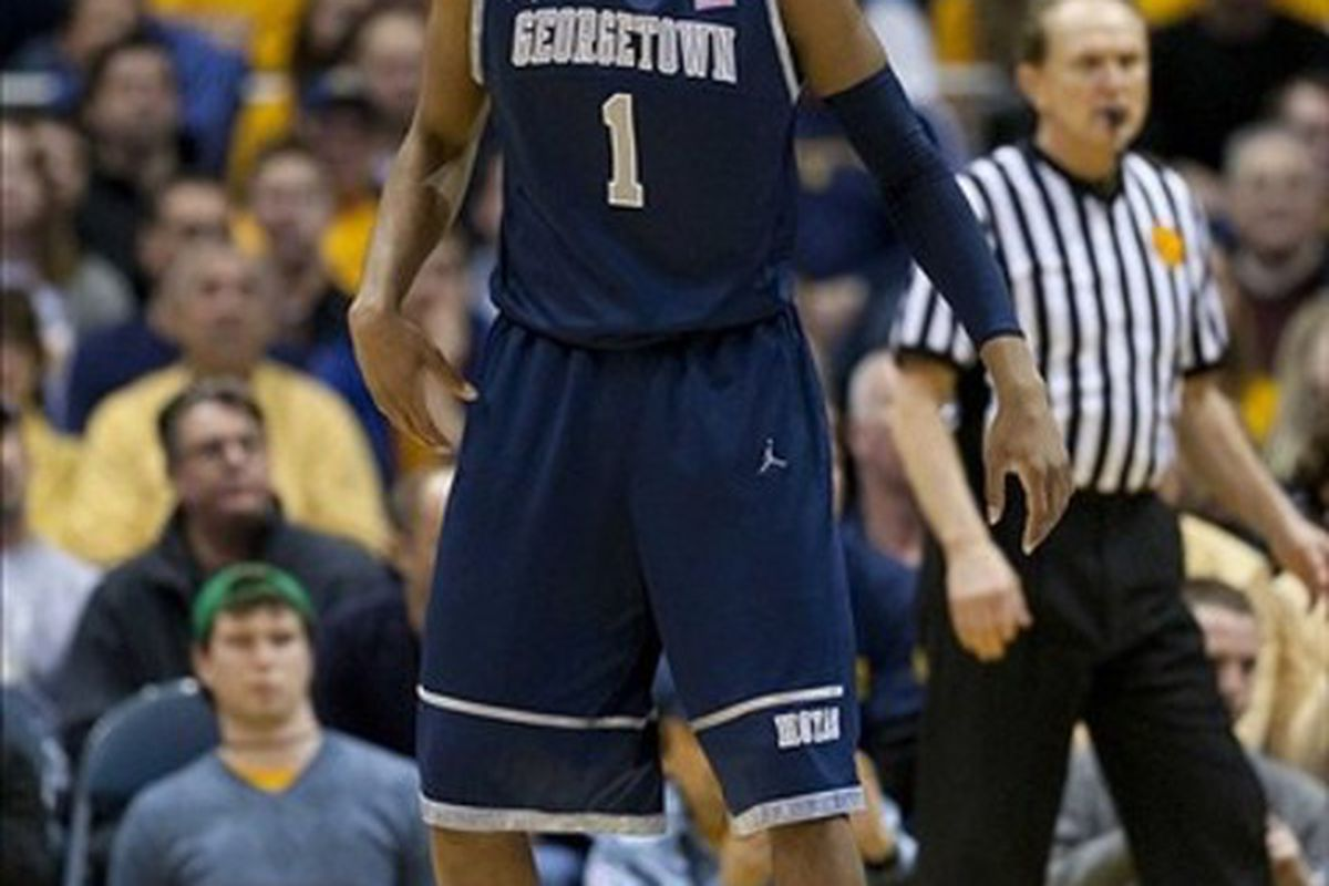 Mar 3, 2012; Milwaukee, WI, USA; Georgetown Hoyas forward Hollis Thompson (1) during the game against the Marquette Golden Eagles at the Bradley Center.  Marquette defeated Georgetown 83-69.  Mandatory Credit: Jeff Hanisch-US PRESSWIRE
